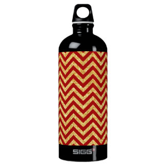 Red Gold Glitter Zigzag Stripes Chevron Pattern Water Bottle