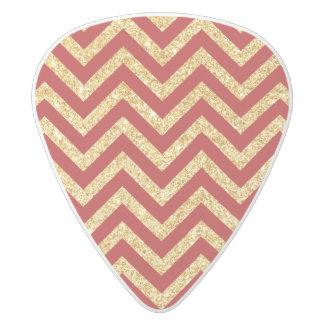 Red Gold Glitter Zigzag Stripes Chevron Pattern White Delrin Guitar Pick