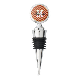 Red Gold Glitter Zigzag Stripes Chevron Pattern Wine Stopper