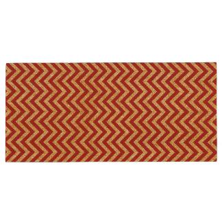 Red Gold Glitter Zigzag Stripes Chevron Pattern Wood USB Flash Drive