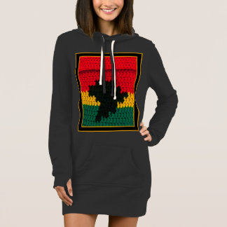 Red Gold Green Black Africa Crochet Print Hooded Dress