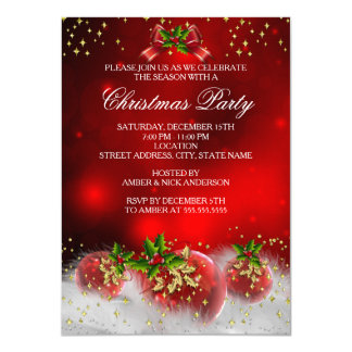 Red Gold Green Holly Christmas Holiday Party 11 Cm X 16 Cm Invitation Card
