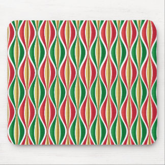 Red Gold Green Waves Mouse Pad
