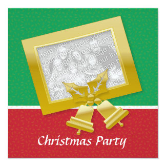 Red Gold Green Xmas party  customizable photo 13 Cm X 13 Cm Square Invitation Card