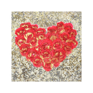 Red & Gold Heart Glam Rustic Love Rustic Valentine Canvas Print