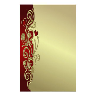 Red & Gold Hearts & Scrolls Personalized Stationery