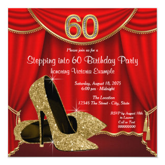 Red Gold High Heel Stepping into 60 Birthday Party 13 Cm X 13 Cm Square Invitation Card