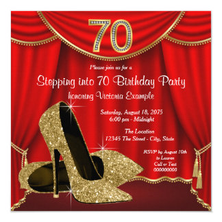 Red Gold High Heel Stepping into 70 Birthday Party 13 Cm X 13 Cm Square Invitation Card