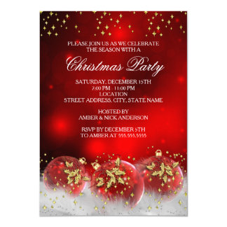 Red Gold Holly Baubles Christmas Holiday Party 11 Cm X 16 Cm Invitation Card