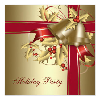 Red Gold Holly Corporate Christmas Holiday Party 13 Cm X 13 Cm Square Invitation Card