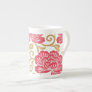 Red Gold Japanese Floral Kimono Tea Cup