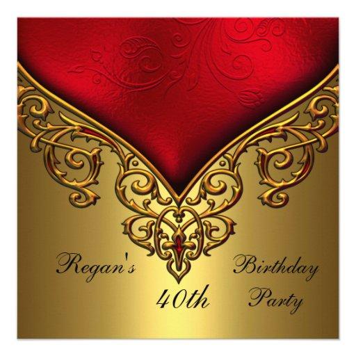 Red Gold Jewel 40th Elegant Birthday Party 13 Cm X 13 Cm Square ...