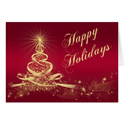 Red, Gold Lighted Tree Corporate Holiday Card Greeting Cards