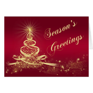 Red Gold Lighted Tree Corporate Season's Greetings Cards