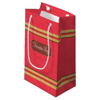 Red Gold Lines Small Gift Bag