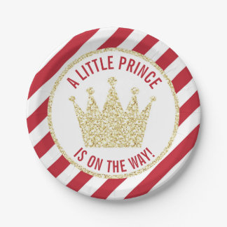 Red Gold Little Prince on the Way Baby Shower Paper Plate