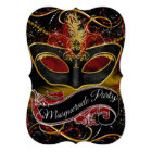 Red & Gold Mask Sparkle Masquerade Card