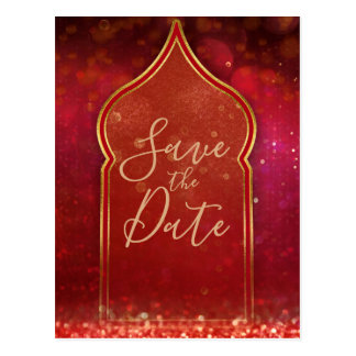 Red & Gold Moroccan Arabian Nights Save the Date Postcard