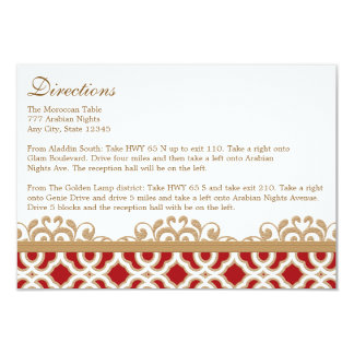 Red Gold Moroccan Directions Accommodation Card