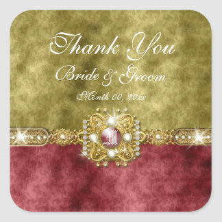 Red gold olive damask wedding stickers