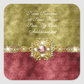 Red gold olive damask wedding square stickers