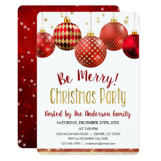 Red & Gold Ornament Christmas Holiday Dinner Party Card