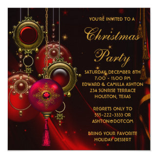 Red Gold Ornaments Corporate Christmas Party 13 Cm X 13 Cm Square Invitation Card