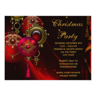 Red Gold Ornaments Corporate Christmas Party 17 Cm X 22 Cm Invitation Card