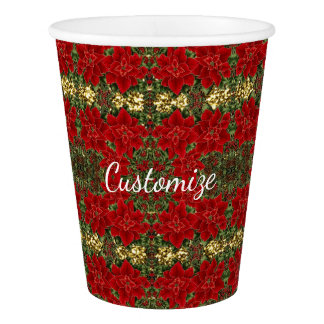 Red & Gold Poinsettia Pattern Holiday Paper Cups