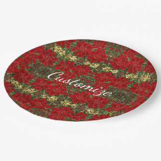 Red & Gold Poinsettia Pattern Holiday Paper Plates