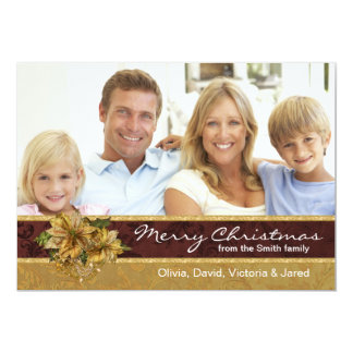 Red Gold Poinsettia Photo Christmas Cards