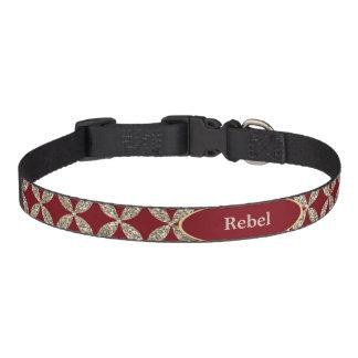 Red Gold Quatrefoil Faux Glitter Personalized Pet Collar