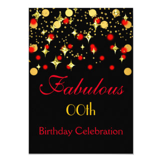 Red Gold Shimmer Lights Birthday Party Card
