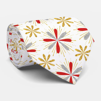 Red Gold Silver Christmas Tie