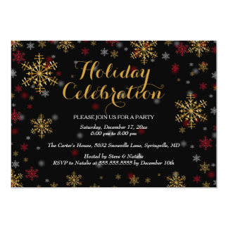Red & Gold Snowflake Holiday Party Invitation