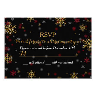 Red Gold Snowflake Holiday Party RSVP Personalized Invite