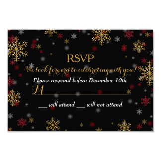 Red & Gold Snowflake Holiday Party RSVP 9 Cm X 13 Cm Invitation Card