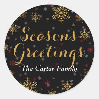 Red Gold Snowflake Season s Greetings Sticker