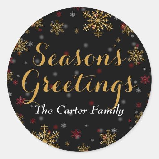 Red & Gold Snowflake Season's Greetings Sticker