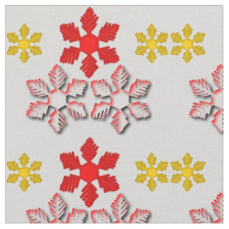 Red & Gold Snowflakes Fabric