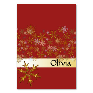 Red Gold Snowflakes Tented Holiday Place Cards