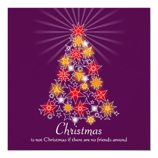 """Red & Gold Star Christmas Tree 3 5.25"""" Square Invitation Card"""