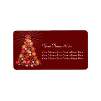 Red & Gold Star Christmas Tree Address Label
