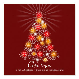Red & Gold Star Christmas Tree Custom Invitations