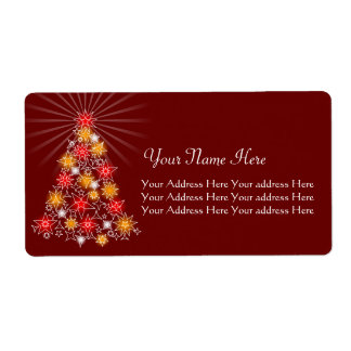 Red & Gold Star Christmas Tree Shipping Label