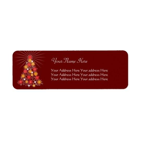 Red & Gold Star Christmas Tree Return Address Label