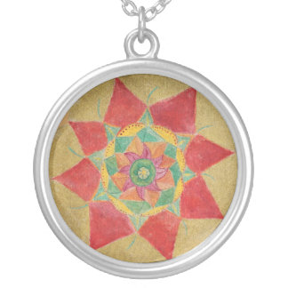 Red Gold Star Mandala Handpainted Round Necklace