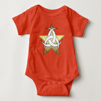 Red Gold Star Three Moon Baby Jersey Bodysuit