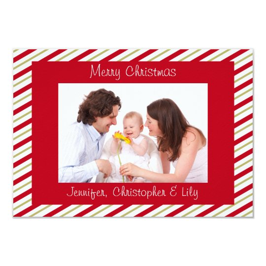 Red Gold Striped Custom Photo Flat Christmas Card