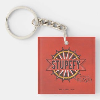 Red & Gold Stupefy Spell Graphic Double-Sided Square Acrylic Key Ring